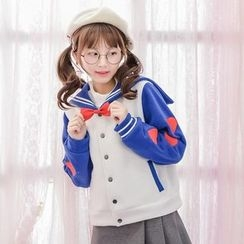 Moriville - Heart Embroidered Sailor Collar Snap-Button Jacket