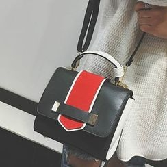 Clair Fashion -  質感時尚撞色皮革肩背包