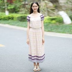 Rainbeam - Short-Sleeve Printed Dress