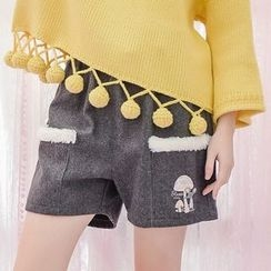 Moriville - Mouse Embroidered Shorts