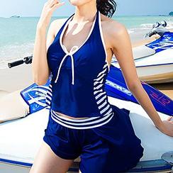 Aqua Wave - Set: Stripe Halter Tankini + Cover-Up Shorts