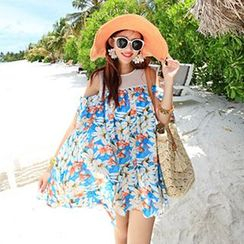 Sunset Hours - Floral Print Cutout Shoulder Chiffon Dress