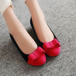YOUIN - Bow-Accent Color-Block Flats