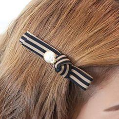Miss Floral - Bow Hair Clip / Rhinestone Hair Pin