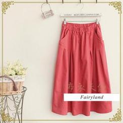 Fairyland - Elastic-Waist Plain Long Skirt