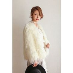 PPGIRL - Open-Front Faux-Fur Jacket