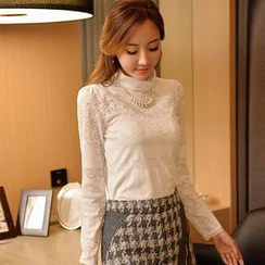 Styleonme - Turtle-Neck Laced Top
