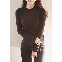CHERRYKOKO - Pleat-Cuff Slim-Fit Knit Top