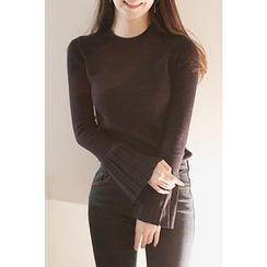 CHERRYKOKO - Pleat-Cuff Slim-Fit Knit Top