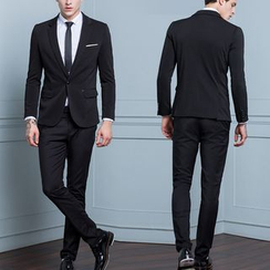 Antszone - Set: Notched-Lapel Single-Button Blazer + Plain Pants