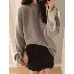 maybe-baby - Tie-Sleeve Wool Blend Knit Top