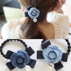 Kristina - Beaded Flower Accent Hair Tie