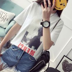 Qimi - Printed Short Sleeve T-Shirt