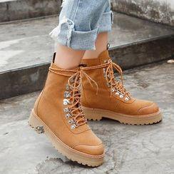 JY Shoes - Platform Lace Up Boots