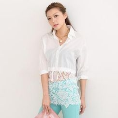 SO Central - Tab-Sleeve Lace Panel Drawstring Shirt
