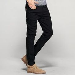 Quincy King - Brushed Fleece-Lined Slim-Fit Casual Pants