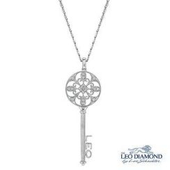 Leo Diamond - 18K White Gold Diamond Fleur-De-Lis Filigree Key Pendant Necklace (16')