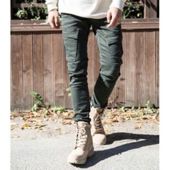 ABOKI - Drawstring-Waist Cargo-Pocket Pants