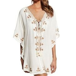 Sunset Hours - Embroidered Batwing Cover-up
