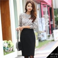 COCOAVENUE - Set: Dotted Chiffon Top + Pencil Skirt
