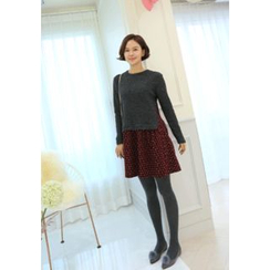 Lemite - Inset Slit-Hem Knit Top Patterned Skirt