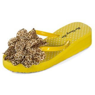yeswalker - Flower-Detail Dotted Wedge Flip Flops