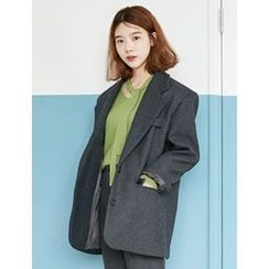 FROMBEGINNING - Single-Breasted Wool Blend Coat