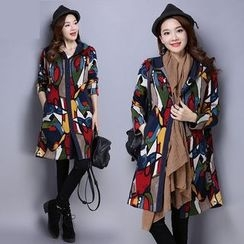 Diosa - Printed Hooded Long Coat