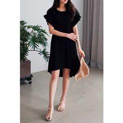 Cherryville - Short-Sleeve Ruffle-Trim Dress