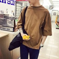 ZZP HOMME - Plain 3/4 Sleeve T-Shirt