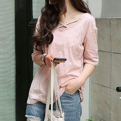 Arroba - Elbow-Sleeve Plain T-Shirt