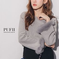 PUFII - Faux-Fur Cuff Long Sleeve Top