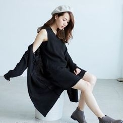 BAIMOMO - 套装:针织背心裙 + 长外套