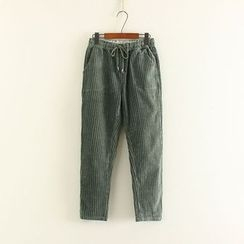 Mushi - Drawstring Corduroy Pants