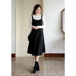 DEEPNY - Tie-Shoulder Button-Detail A-Line Midi Dress