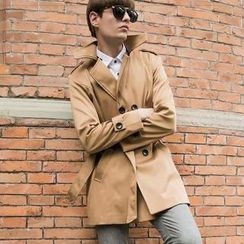 Free Shop - Double-Breasted Belted Trench Coat