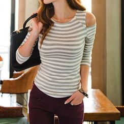 Amella - Cutout-Shoulder Stripe Top