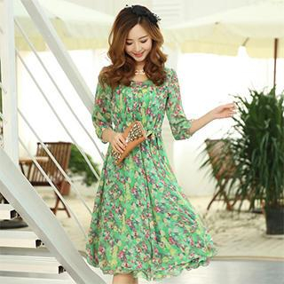 Mooiee - 3/4-Sleeve Floral Chiffon Midi Dress