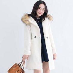CatWorld - Faux-Fur Trim Tie-Waist Hooded Coat