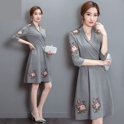 Diosa - Flower Embroidered 3/4 Sleeve A-Line Dress