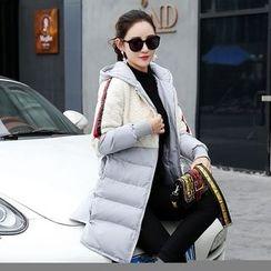 Romantica - Fleece Panel Hooded Padded Coat