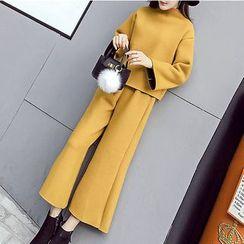 Honeydew - 套裝: 純色長袖套衫 + 純色寬腿褲