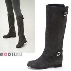 MODELSIS - Genuine Leather Buckled Zip-Up Long Boots