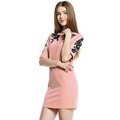O.SA - Short-Sleeve Printed Chiffon Dress