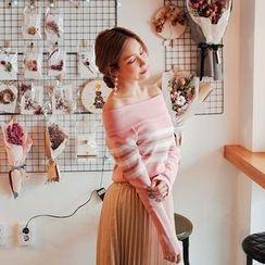 Cherryville - Off-Shoulder Striped Knit Top