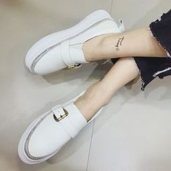 Crystella - Buckled Genuine Leather Loafers