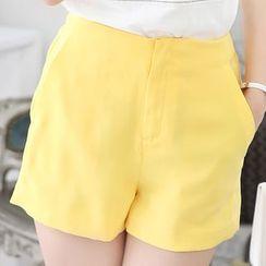 Fumoya - Plain Wide Leg Shorts