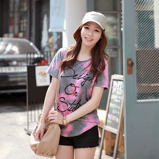 CLICK - Tie-Dye Logo Print T-Shirt