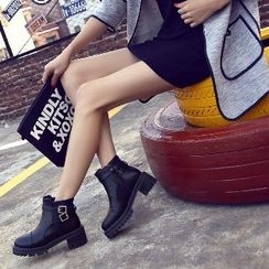 Mancienne - Chunky-Heel Platform Buckled Ankle Boots