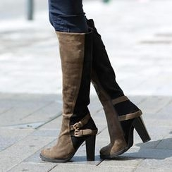 SO Central - Knee-Length Two-Tone High Heel Boots